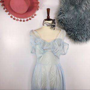 Vtg 60s Ruffle Sheer Slip Maxi Dress M